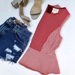 Anthropologie Maeve Striped Peplum Tank